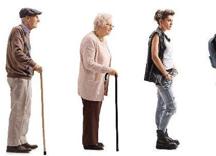 Seniors in voting line